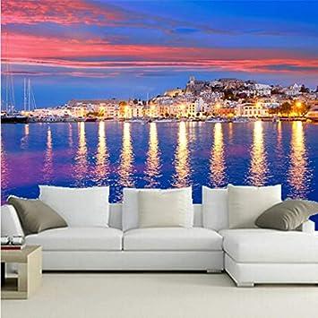 Mural grande personalizado en 3D, cielo colorido, casa brillante en España, una hermosa costa , sala de estar sofá TV pared dormitorio papel de pared-400 * 300cm: Amazon.es: Bricolaje y herramientas