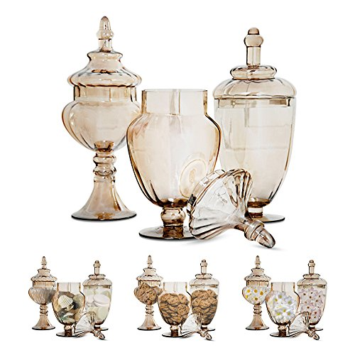 Set of 3 Gold Apothecary Jars - with Lids on Pedestal Stand ~ Elegant Centerpiece for Party and Candy Buffet, Countertop and Vanity Décor, Decorative Glass Jars (Clear Glass, Goldish Copper (Apothecary Candy Jars)
