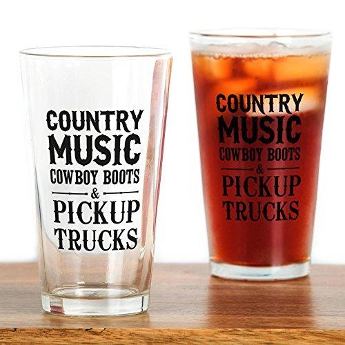 CafePress Country Music, Cowboy Boots & Pickup Trucks Drinki Pint Glass, 16 oz. Drinking Glass ()