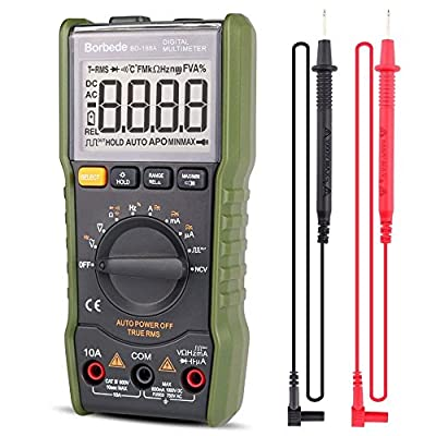 Digital Multimeter,DC AC Voltage Current Capacitance Resistance NCV True RMS Diode Tester of 6000 count,Borbede 168A Mini Portable