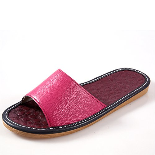 Women Floor Smelly Corium Wooden Rose Anti Summer Men for Autumn Cowhide W Leather Spring Slippers TELLW SqCOq