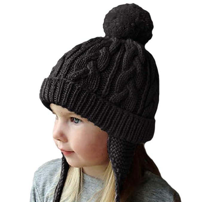 3be51084a46b Chalier Toddler Kids Earflaps Beanie Hats Winter Warm Knit Infant Baby Girl  Boy Pom Pom Caps  Amazon.co.uk  Clothing