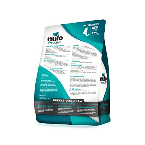 Nulo Freeze Dried Raw Dog Food For All Ages & Breeds: Natural Grain Free Formula With Ganedenbc30 Probiotics For Digestive & Immune Health - Salmon & Turkey With Strawberries - 13 Oz Bag