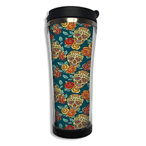 Travel Coffee Mug 3D Printed Portable Vacuum Cup,Insulated Tea Cup Water Bottle Tumblers for Drinking with Lid 14.2oz(420 ml)by,Sugar Skull Decor,Skulls Diamond Shapes in Eyes Roses Bouquets Colorful