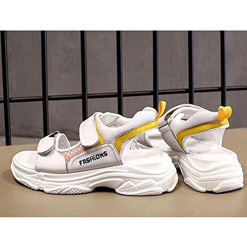 Sandals CJC Ladies Women's Peep Toe Wedge Heel 5cm Sport Shoes Outdoor (Color : T2, Size : EU39/UK6/CN39) T2