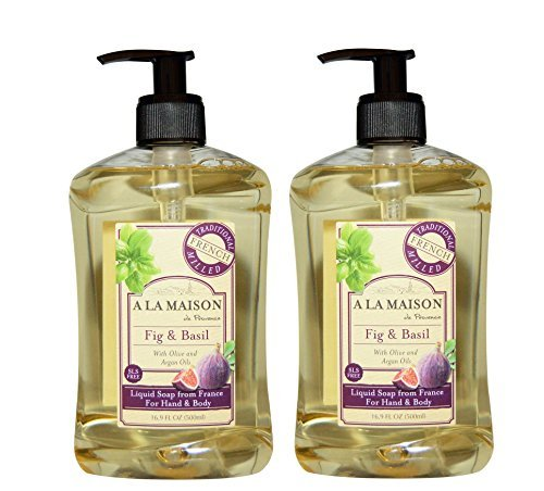 A La Maison de Provence Fig and Basil Liquid Hand and Body Soap (Pack of 2) With Coconut Oil, Argan Oil and Vitamin E, 16.9 fl oz Each
