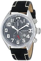 Akribos XXIV Men's AK706SSB Essential Chronograph Grey Dial Stainless Steel Black Leather Strap Watch