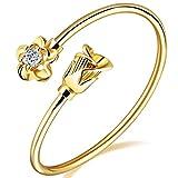 LOHOME Women's Fashion Bracelets 18K Gold Tone Rose charm Open Bangle Cuff for Women