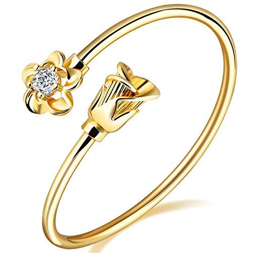 LOHOME Women's Fashion Bracelets 18K Gold Tone Rose charm Open Bangle Cuff for Women by LOHOME (Image #7)