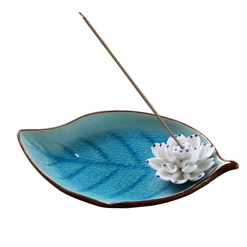 Corciosy Incense Stick Burner Holder-Ceramic Decorative Lotus Incense Burner Leaf- Incense Ash Catcher Tray Sky Blue by Corciosy