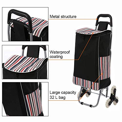 Hosmat Folding Shopping Cart All Terrain Stair Climbing Cart with Removable Waterproof Canvas Bag for Laundry, Grocery, Shopping and Sport Events – 150lbs Capacity