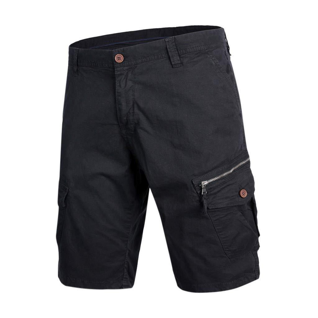 Alalaso Men's Big and Tall Twill Cargo Short Casual Solid Outdoor Pocket Work Short Cargo Comfort Waist Shorts Pants Black by Alalaso