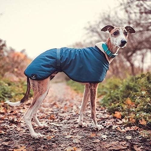 Abrigo impermeable con forro polar azul azulado con galgo, con correa ajustable a juego para lurcher/galgo italiano/sighthound (Xsmall 35,5 cm)