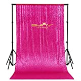 ShinyBeauty 4FTx7FT Hot Pink Sequin Backdrop Sequin Wedding Curtains Wedding Backdrop Photography