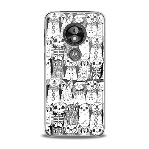 Lex Altern TPU Case for Motorola Moto G7 Power One P30 P40 Note G6 Z4 Pencil Drawing Cats Clear Cover Print Black White Protective Women Soft Silicone Transparent Teen Girl Funny Clown Smooth Gift