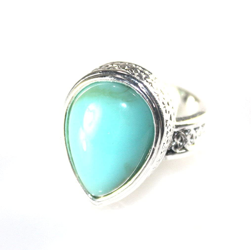 SilverstoneTX SILVER Vintage Style Green Turquoise Teardrop Ring Size 6.25