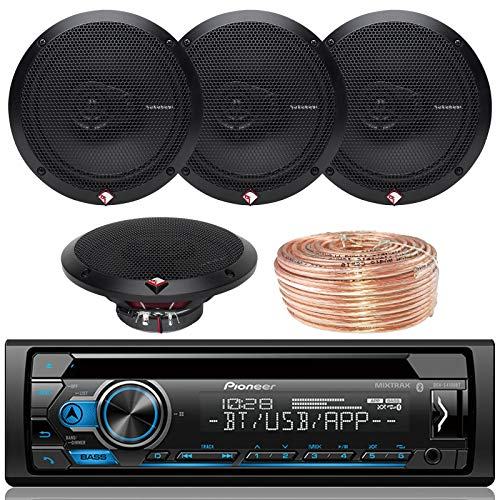 Pioneer DEH-S4100BT Car Bluetooth Radio USB AUX CD Player Receiver - Bundle Combo with 4X Rockford Fosgate R165X3 6.5