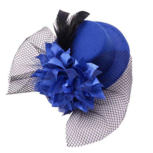 Coolr Women's Fascinator Flower Hair Clip Feather Burlesque Punk Mini Hat Blue -