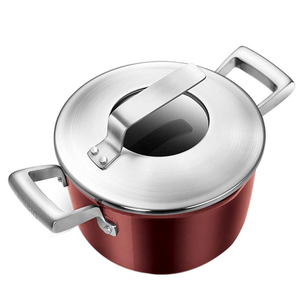 鍋 スープポット お粥シチューポット 栄養スープポット 家庭用ホットミルクポット インスタントラーメン煮込み肉ポット フライパンセット (Color : Red, Size : 24x15cm) 24x15cm Red B07KXVWK32