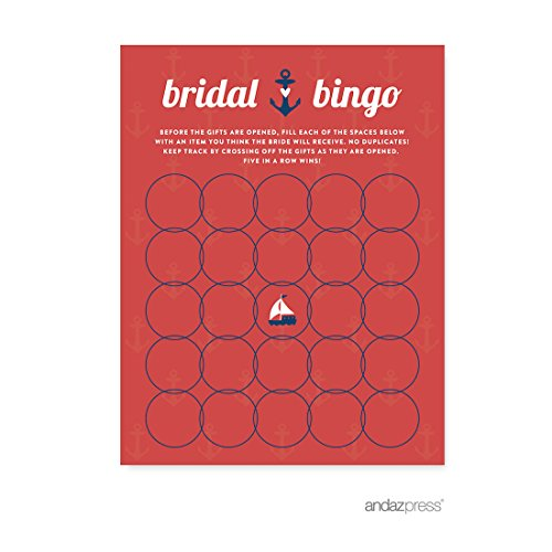 Andaz Press Nautical Ocean Adventure Wedding Collection, Bridal Shower Bingo Game Cards, (Personalized Bingo Games)