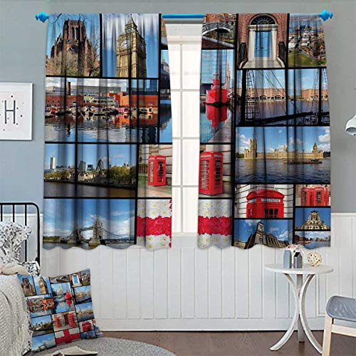 British Telephone - Chaneyhouse England Blackout Window Curtain England City Red Telephone Booth Clock Tower Bridge River British Flag with Flowers Customized Curtains 55