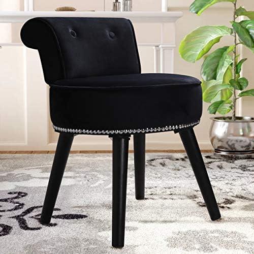 L*W*H 49 black 57CM. Hironpal Black Velvet Bedroom Dressing Table Stool Makeup Seat Vanity Stool Padded Upholstered Chair with Rubber wood Legs 46