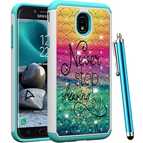 CAIYUNL for Samsung Galaxy J3 2018 / J3 Achieve/Express Prime 3 /Amp Prime 3 / J3 Orbit / J3 Star Studded Rhinestone Crystal Bling Dual Layer Hybrid Protective Armor Shockproof Case Cover -Dearming