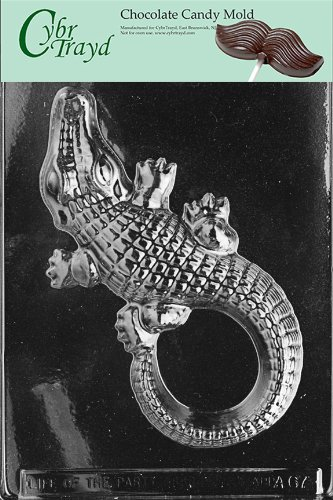 Cybrtrayd Life of the Party A067 Large Alligator Chocolate Candy Mold in Sealed Protective Poly Bag Imprinted with Copyrighted Cybrtrayd Molding - Mold Alligator Plastic