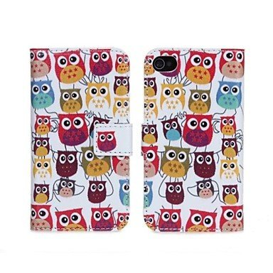 Owl Design Wallet PU Leather Stand Case Cover with Credit ID Card Holder for Apple Iphone 4 4G 4S (Style 2)