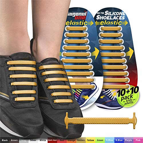 (DIAGONAL ONE No Tie Shoelaces for Kids & Adults. The Elastic Silicone Shoe Laces to Replace Your Shoe Strings. 20 Slip On Tieless Flat Silicon Sneakers Laces (Golden))