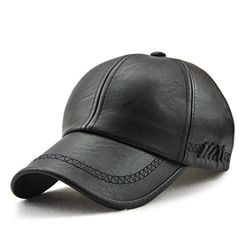 King Star Men's PU Leather Adjustable Winter Warm Baseball Cap Dad Hat Black ()
