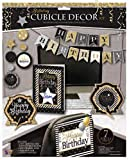 Birthday Cubicle Decor Kit (7 Pieces): Giant Greeting Card, Happy Birthday Banner, 2 Self-Standing Signs, Chair Back Sign and 2 String Danglers