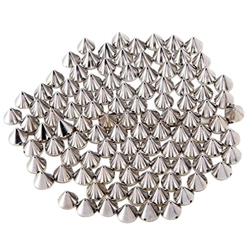 100pcs Acrylic Bullet Spike Cone Screwback Studs, Beads, Sew On, Glue On, Stick On, DIY Garments, Bags & Shoes Embellishment Cool Rivets Punk(10mm x (Silver Finish Bead Cap)