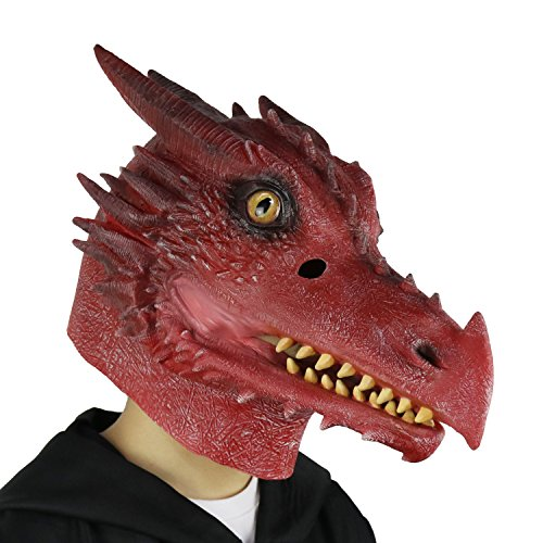 LarpGears Halloween Costume Latex Moving Mouth Mask Animal Dragon Mask for Cosplay (Fire Dragon)