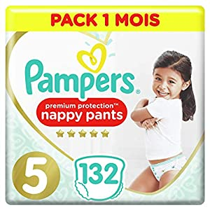 Couches Culottes Pampers Taille 5 (12-17 kg) - Premium Protection Nappy Pants, 132 culottes, Pack 1 Mois 9