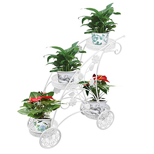 Dazone Metal Potted Plant Stand Rack 3 Tiered Garden Cart (White)
