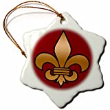 3dRose Large Black and Gold Fleur De Lis on Maroon Background Christian Symbol Snowflake Ornament, 3''