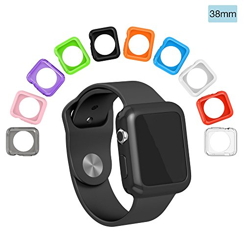 Colorful Protective Case (ClockChoice Smartwatch Protective and Bumper Cases, 10 Colorful Combination of Thin, Soft and Light Covers for 38mm Series 1, 2 & 3 Match Your Daily Outfit and Mood, Easy to Install and Perfect Gift)