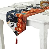 KooNicee Halloween Table Runner, Pumpkins and Cat Tablecloth Table Topper for Family Dinners Party Club Table Cover Decoration Home Décor
