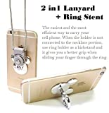 AccessoryHappy Mickey Ear 2 in 1 Phone Lanyard & Ring Stent, Cell Phone Tether Neck Strap Holder Ring Stent Kickstand for iPhone 5 6 6S 7 8 8 Plus Galaxy S7 and Other Mobile Phones (Silver)