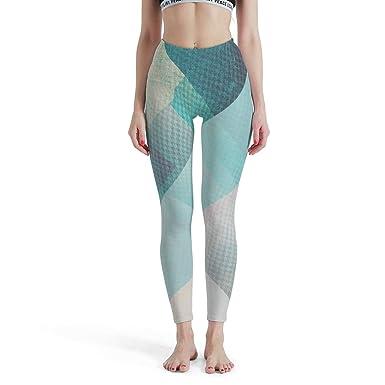 Dofeely Pantalones de Yoga para Mujer, Color Azul y Verde, Cintura ...