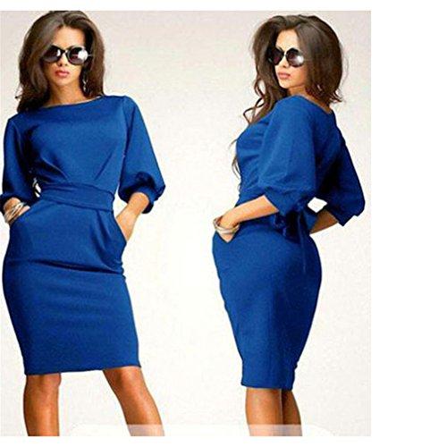 Asymmetric Cocktail - Iumer Womens Short Sleeve Party Evening Bodycon Cocktail Midi Dress Royal Blue