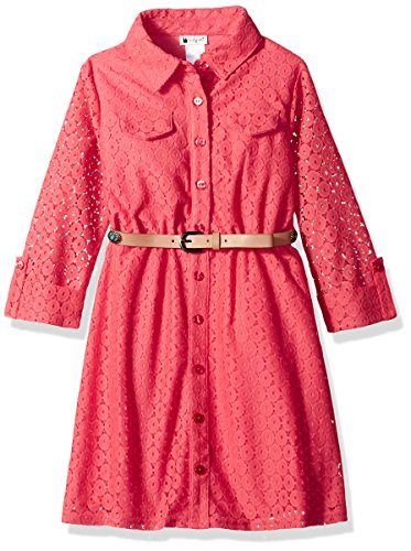 Emily West Girls' Big Crochet Lace Shirt Dress with Belt Detail, Coral, 14