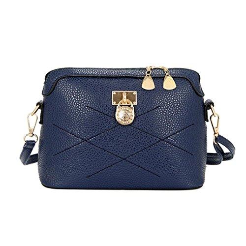 Bovake - Bolso mochila  de Piel para mujer Azul