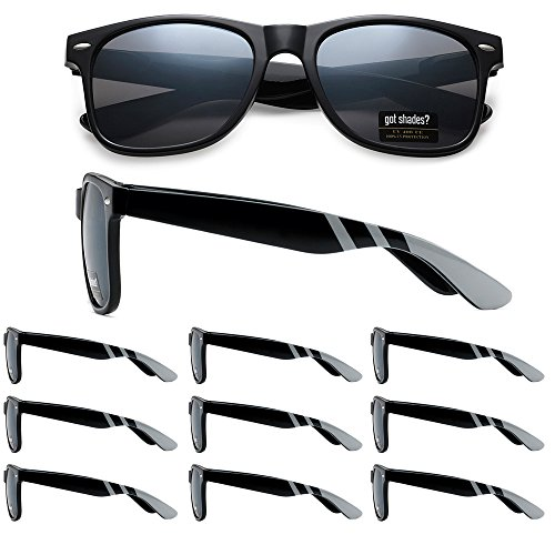 (WHOLESALE RETRO BULK LOT TEAM SPIRIT STRIPED PROMOTIONAL SUNGLASSES - 10 PACK (Gloss Black | Silver Stripes | Smoke Lens, 52))