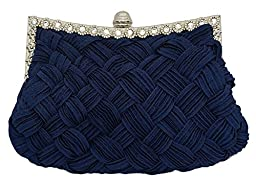Chicastic Pleated and Braided Rhinestone studded Wedding Evening Bridal Bridesmaid Clutch Purse - Navy Blue