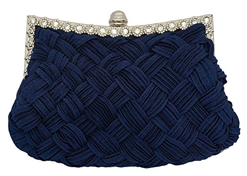 Chicastic Pleated and Braided Rhinestone studded Wedding Evening Bridal Bridesmaid Clutch Purse - Navy Blue