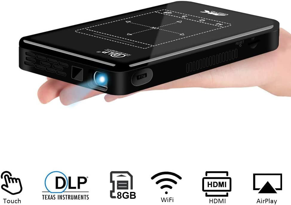 """LAIDUOAO Mini Projector, WiFi Video Projector DLP Projector with 50,000 Hrs Lamp Life, 1080P and 150""""Display Supported Portable Projector, Built-in Battery and Speakers with 360°Rotation Tripod"""