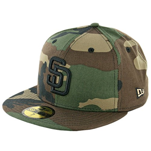 Camo 59fifty Fitted Cap - New Era 59Fifty San Diego Padres Fitted Hat (Woodland Camouflage/Black) MLB Cap