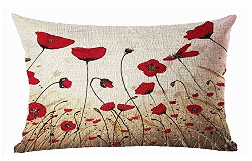 Large Rectangular Case (Plant flowers red poppy Cotton Linen Throw Pillow covers Case Cushion Cover Sofa Decorative Square12